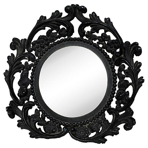 Round Ebonized Metal Picture Frame