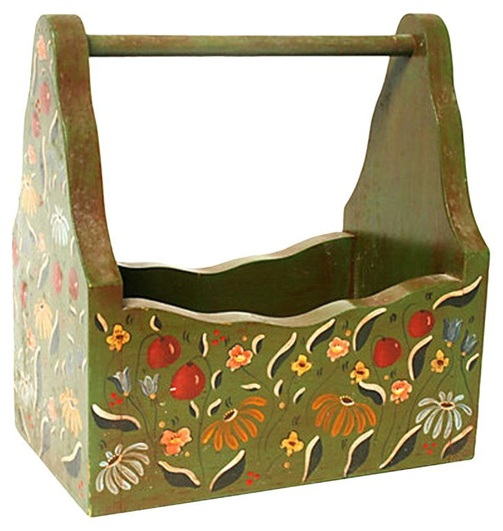 Hand-Painted Floral Wooden Caddy