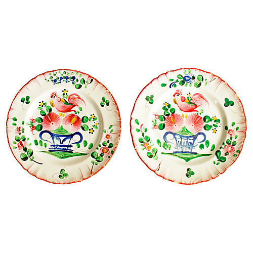 Two Hand-painted French Bird Plates