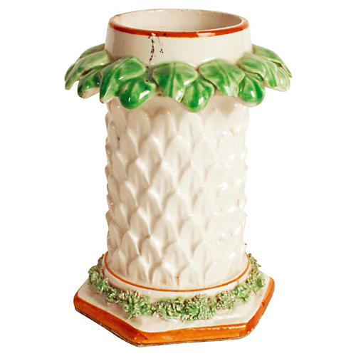 Italian Pottery Palm Tree Flower Vase