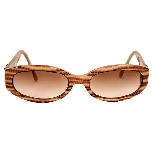 Ferragamo Striped Tortoise Sunglasses