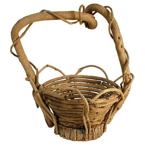 Large Twisted Twigwork Basket