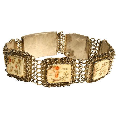 Indian Silver & Etched-Bone Bracelet