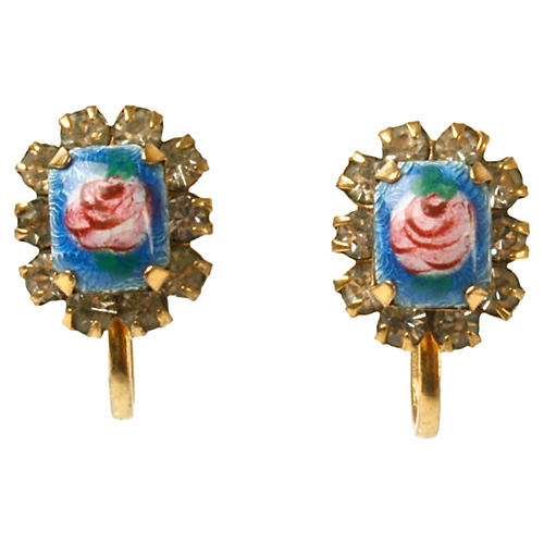 Vermeil, Enamel & Rhinestone Earrings