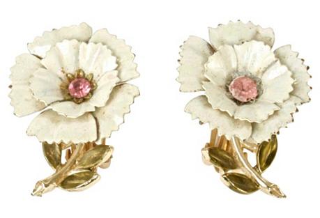 Enamel & Pink Rhinestone Floral Earrings