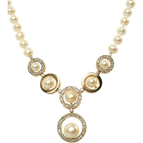 Faux-Pearl & Rhinestone Drop Necklace