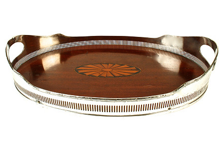 Ribbon&Reed Galleried Silver Plate Tray