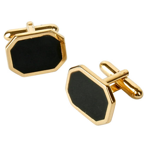 Black Enamel & Gold-Plated Cuff Links