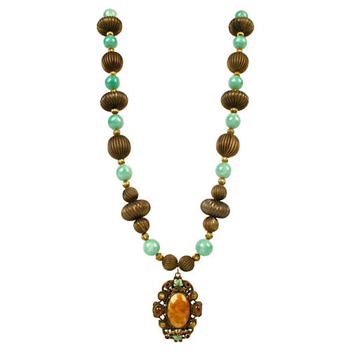 Faux-Turquoise & Goldtone Bead Necklace