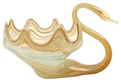 Hand-Blown Murano Glass Swan Bowl