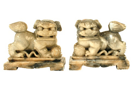 Gray Marble Foo Dog Bookends, S/2