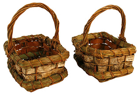 Twig, Reed & Birch Bark Baskets, Pair