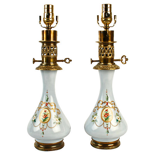 Victorian Hand Painted Blue Lamps, Pair