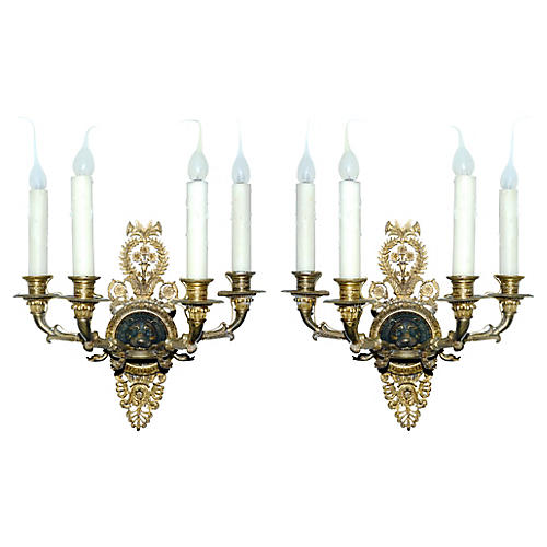 English Regency-Style Sconces, S/2