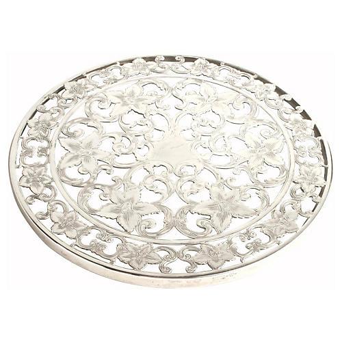 Pierced Silver Plate & Glass Trivet