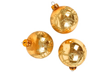 Gold Glass Christmas Ornaments, S/3