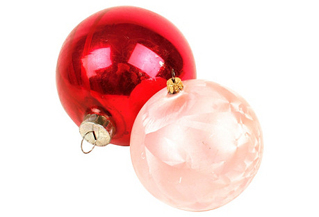 Large Pink Christmas Ornaments, S/2