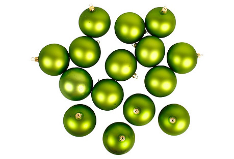 Olive Green Christmas Ornaments, S/15