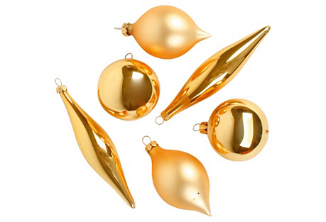 6 Gold Glass Christmas Ornaments