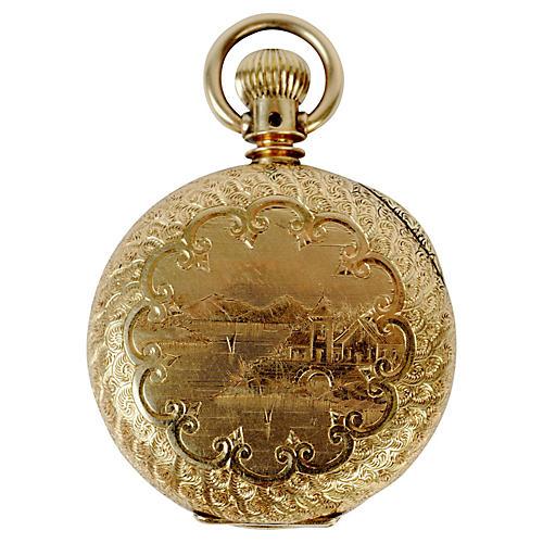 14K Gold Elgin Chinoiserie Watch