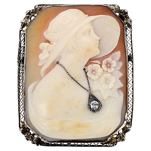 Victorian Gold Cameo & Diamond Brooch