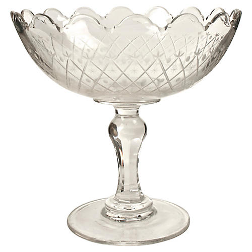 Cut-Crystal Footed Bowl