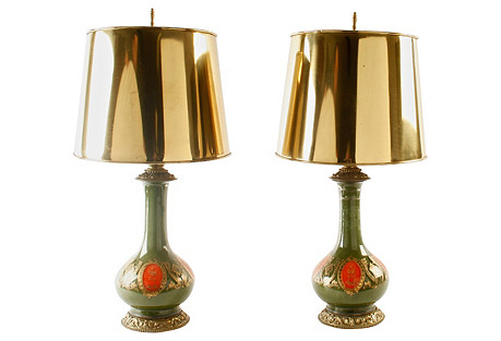 Glass Lamps, Pair