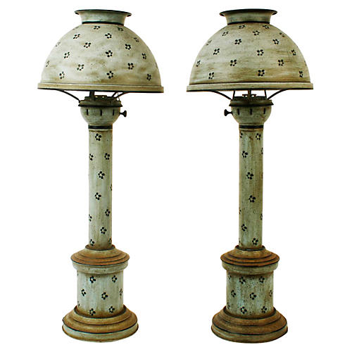1970s Painted Tole Lamps, S/2