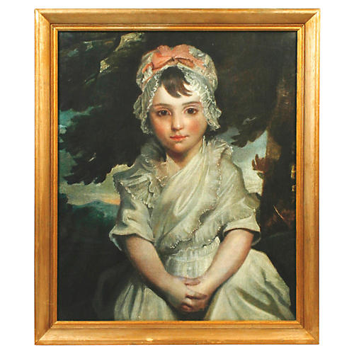 Framed Print of a Girl w/ Pink Bow