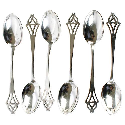 Art Deco Sterling Demitasse Spoons, S/6