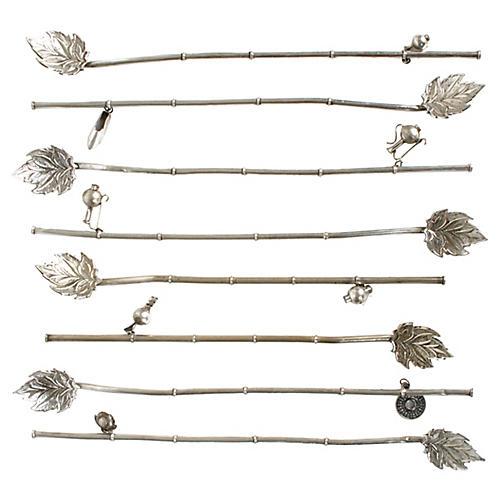 Turkish Silver-Plate Spoon Straws, S/8