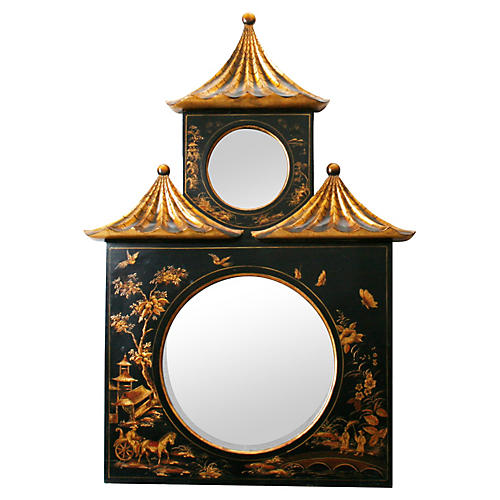 Chinoiserie Decorated Pagoda Mirror