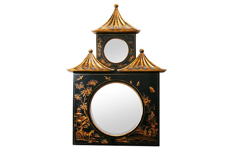 Chinoiserie Decorated Pagoda Mirror