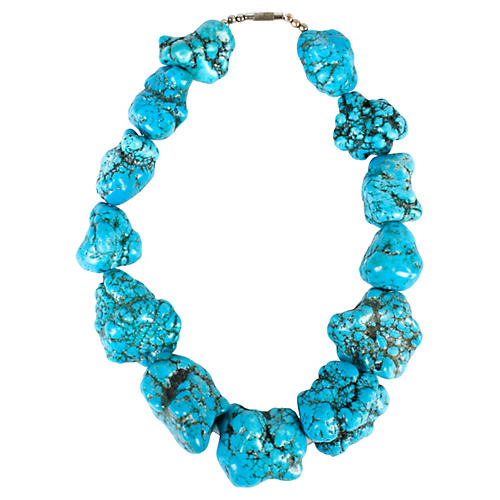Raw Turquoise Beaded Necklace