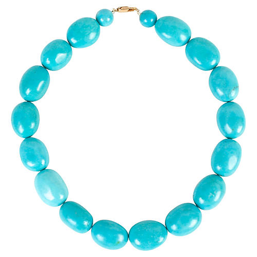 Oval Turquoise Bead Necklace