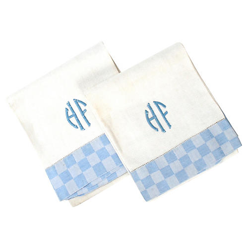 Monogrammed Checker Hand Towels, S/2