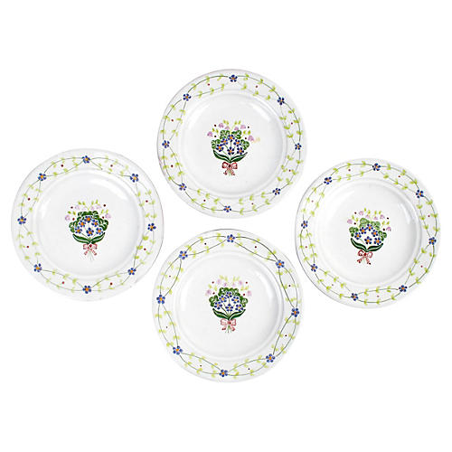 Forget-Me-Not Bouquet Plates, S/4