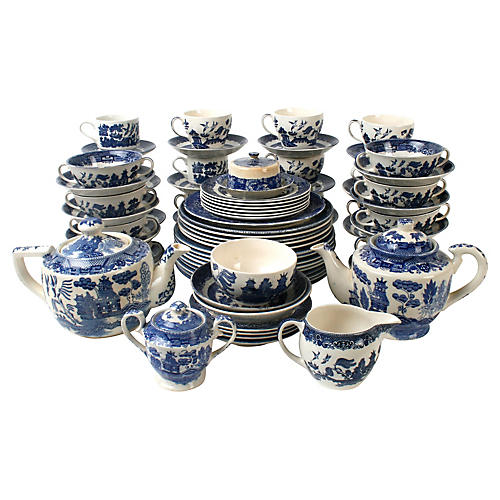 Set of Blue Willow Ware, 74 Pieces