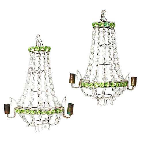 Venetian Crystal Candle Sconces, Pair