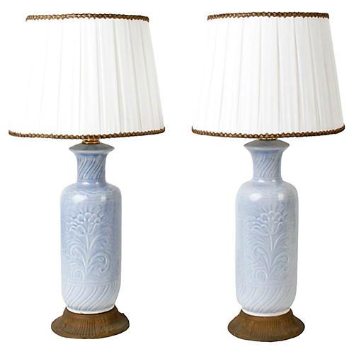 Light Blue Floral Ceramic Lamps, Pair