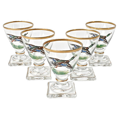Five Flying Mallard Duck Cordial Glasses