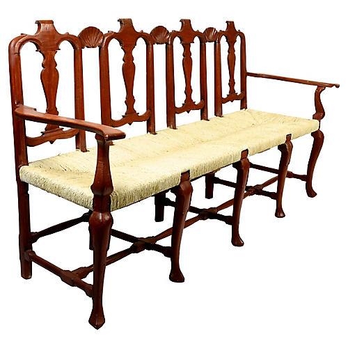 Antique Dutch Rush Seated Walnut Bench