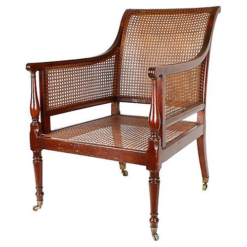 Regency Caned Mahogany Library Chair