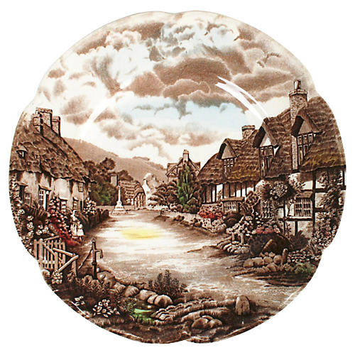 Hand-Tinted Olde English Plates, S/6