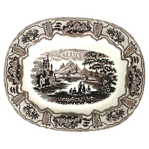 Large Brown & White Platter