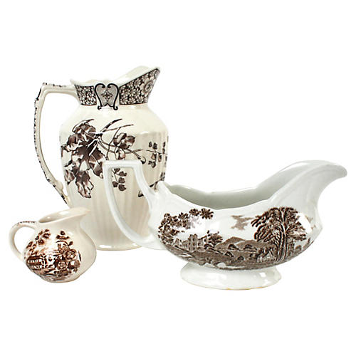 Brown & White Transfer Serving Pieces, 3