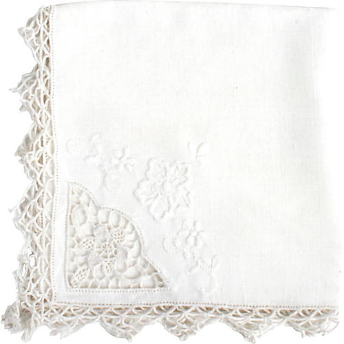 8 Floral Lace & Embroidered Napkins