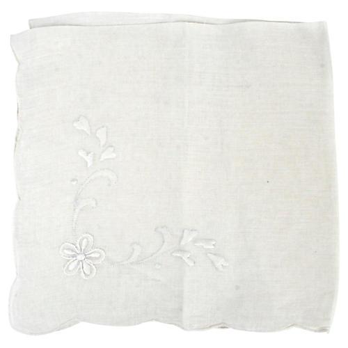 12 Floral Embroidered Linen Napkins
