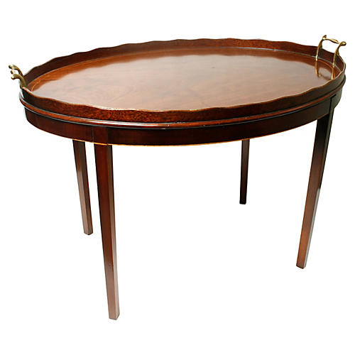 Chippendale-Style Mahogany Tray Table