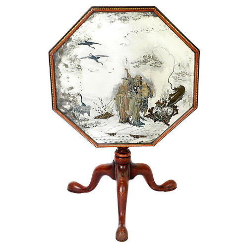 English Chinoiserie Mirrored Top Table